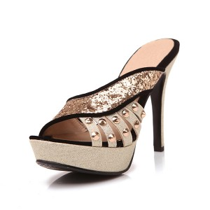 Women's Black Golden Glittering Open Toe Platform Stiletto Heels Slippers