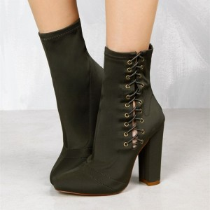 Women's Black Green Lace Up Boots Pointy Toe Ankle Boots Fashion Shoes