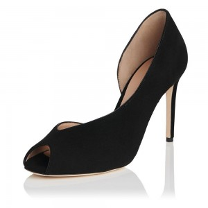 Women's Black Key Hole Stiletto heels Office Shoes