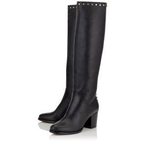 Women's Black Knee High Chunky Heel Boots Comfortable Shoes