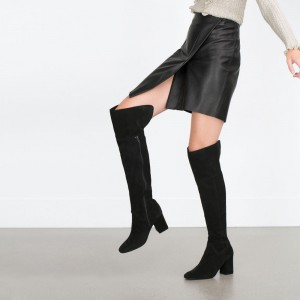 Women's Black Long Boots Chunky Heels Pointy Toe Over-the-knee Boots