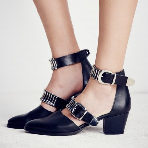 Black Ankle Strap Block Heels Pointy Toe Pumps with Buckles