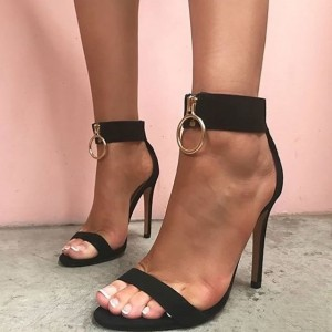 Women's Black Open Toe Stiletto Heels Ankle Strap Sandals with Zipper