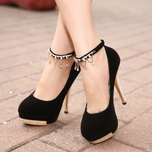 Black Ankle Strap Heels Platform Pumps Suede Shoes with Rhinestone