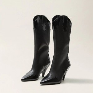 Women's Black Pointy Toe Fashion Boots Cone Heel Mid Calf Boots