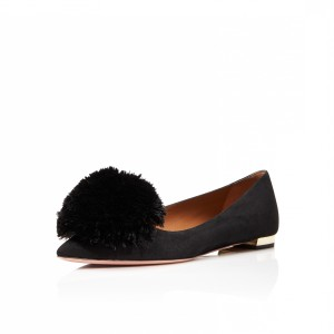 Women's Black Pointy Toe Flats with Fur Ball