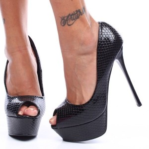 Women's Black Python Stripper Heels Peep Toe Platform Pumps