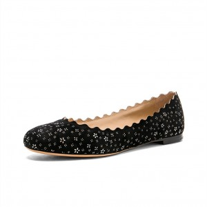 Women's Black Round Toe Floral Comfortable Flats
