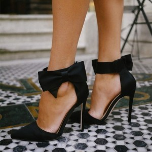 Women's Black Sexy Ankle Strap Sandals With Bow