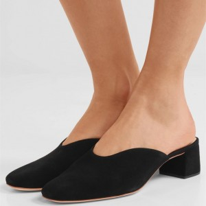 Women's Black Square Toe Suede Block Heels Mule
