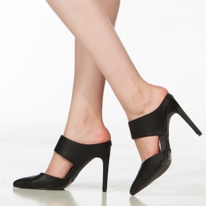 Women's Black Stiletto Heels Dress Shoes Pointy Toe Mule