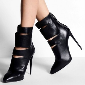Black High Heel Boots Cut out Stiletto Heel Sexy Ankle Booties
