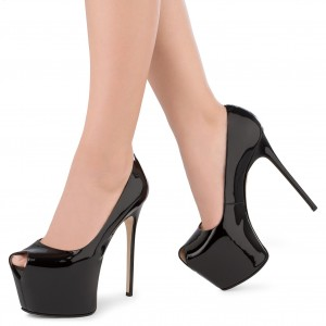 Women's Black Stiletto Heels Pumps Peep Toe Patent Leather Pumps