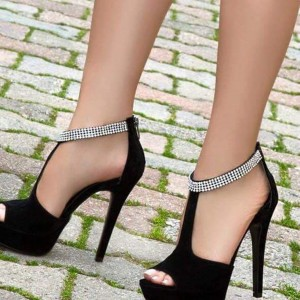 Women's Black Stiletto Heels Rhinestone T-Strap Sandals