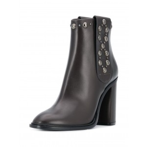 Women's Black Studs Round Toe Chunky Heels Ankle Booties