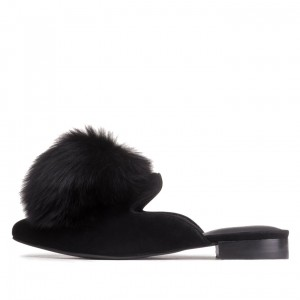 Women's Black Suede Fur Mule Loafers for Women