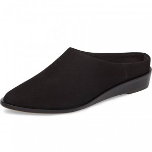 Women's Black Suede Mule Round Toe Comfortable Flats