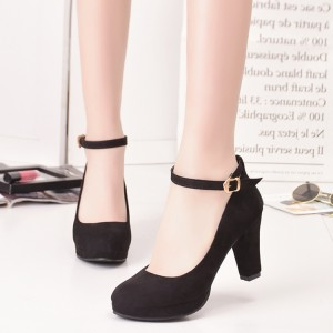 Women's Black Suede Ankle Straps Heels Vintage Shoes Chunky Heels