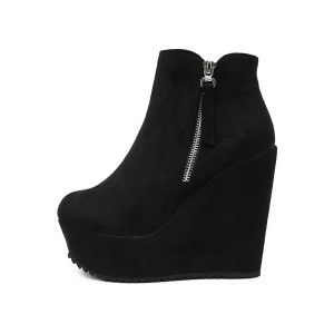 Women's Black Suede Round Toe Wedge Heels Ankle Boots with Zipper