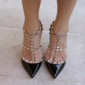 Black Rivets Stiletto Heels Patent Leather Sexy T Strap Pumps