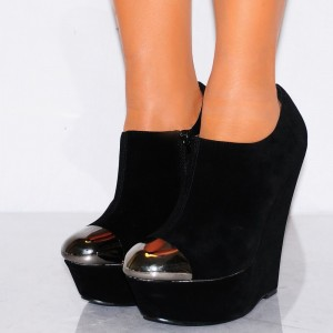 Women's Black Wedge Shoes Pewter Almond Toe Ankle Booties