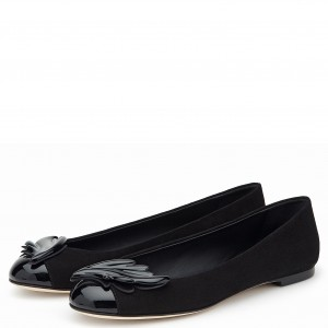 Women's Black Wings Pointy Toe Comfortable Flats