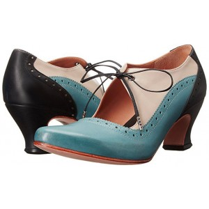 Women's Blue Cut-out Lace-up Vintage Chunky Heels Shoes