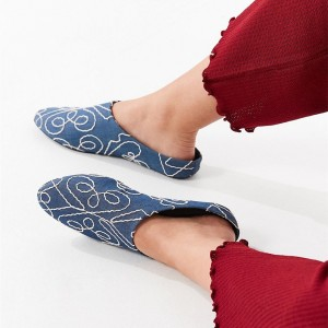 Women's Blue Denim Comfortable Flat Mule Shoes