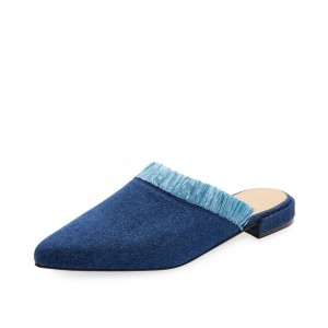 Women's Blue Denim Fringe Mule Pointed Toe Jean Flats