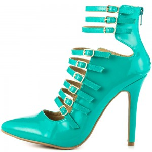 Women's Blue Green Stiletto Heels Patent Leather Strappy Summer Boots