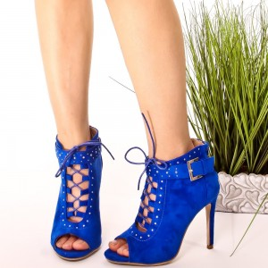 Women's Blue Peep Toe Stiletto Heels Vintage Lace Up Boots