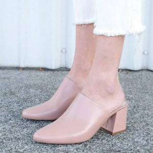 Women's Blush Block Heel Sandals Almond Toe Mules