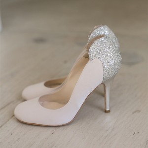 Women's Light Pink Rhinestone Stiletto Heels Pumps Bridal Heels
