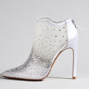 White Mesh Bridal Shoes Pointy Toe Stilettos Rhinestone Ankle Booties