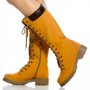 Women's Mustard Lace Up Boots Retro Casual Mid Calf Flat Boots