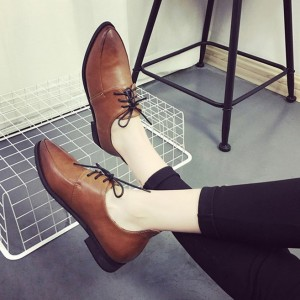 Brown Women's Oxfords Pointy Toe Lace Up Flat Vintage Shoes
