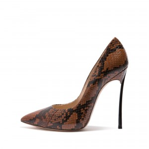 Women's Brown Python Stiletto Heels Pointy Toe Pumps
