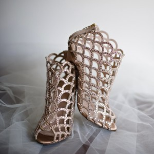 Women's Nude Rhinestone Stiletto Heels Cage Bridal Sandals