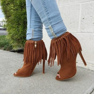 Brown Fringe Boots Peep Toe Suede Stiletto Heel Ankle Booties