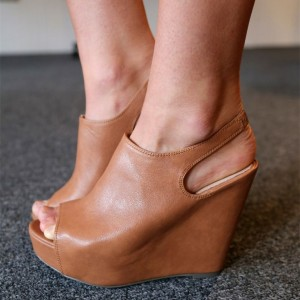 Women's Brown Wide Slingback Peep Toe Wedge Sandals