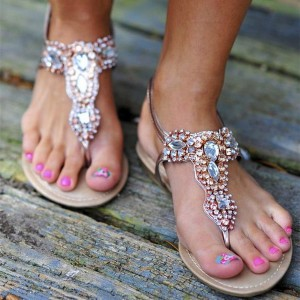 Rose Gold Jeweled Thong Sandals Trending Flat Summer Beach Sandals