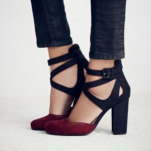 Women's Maroon and Black Chunky Heels Pointy Toe Ankle Strap Pumps