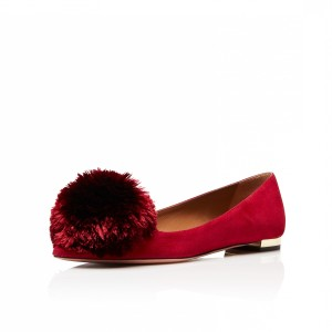 Women's Burgundy Pointy Toe Flats Suede Shoes with Fur Balls