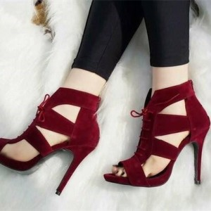Burgundy Suede Hollow-out Lace Up Heels Stiletto Heels Sandals
