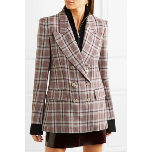 Women's Checked Linen Blazer