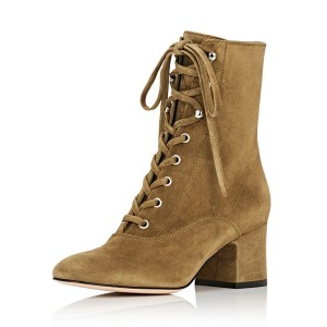 Women's Clay Brown Lace Up Heels Pointed Toe  Suede Ankle Boots