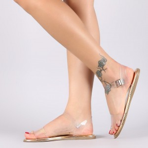 Clear and Gold Open Toe PVC Flat Sandals