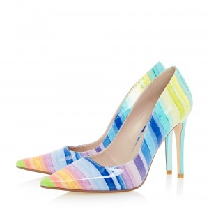 Women's Colorful 3 Inch Heels Stiletto Heel Pointed Toe Pumps Shoes