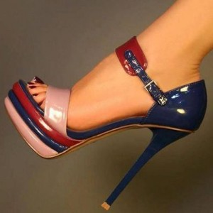 Multicolor Patent Leather Platform Heels Open Toe Stiletto Heels