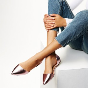 FSJ Women's Pointy Toe Double D'orsay Ballet Flats in Rose Gold